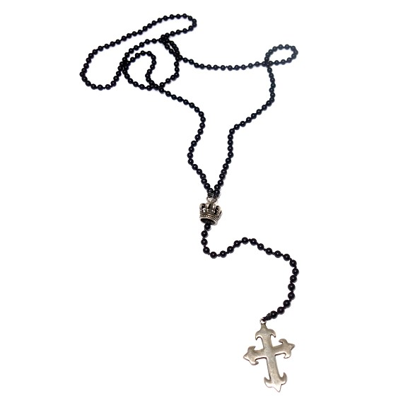 Sterling Silver Crown & Cross on Onyx Lariat Necklace