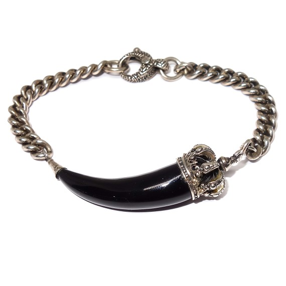 Sterling Silver Crown & Onyx Horn Bracelet