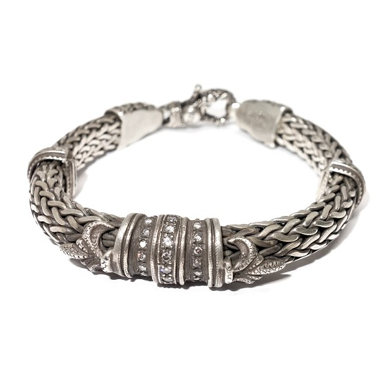 Sterling Silver Diamond Fleur De Lis Bracelet