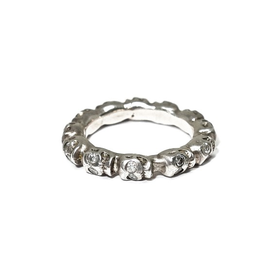 Sterling Silver & Diamond Skull Band