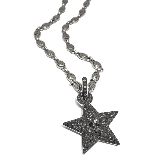Sterling Silver & Diamond Star Pendant