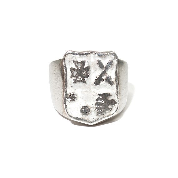 Sterling Silver & Enamel Crest Ring