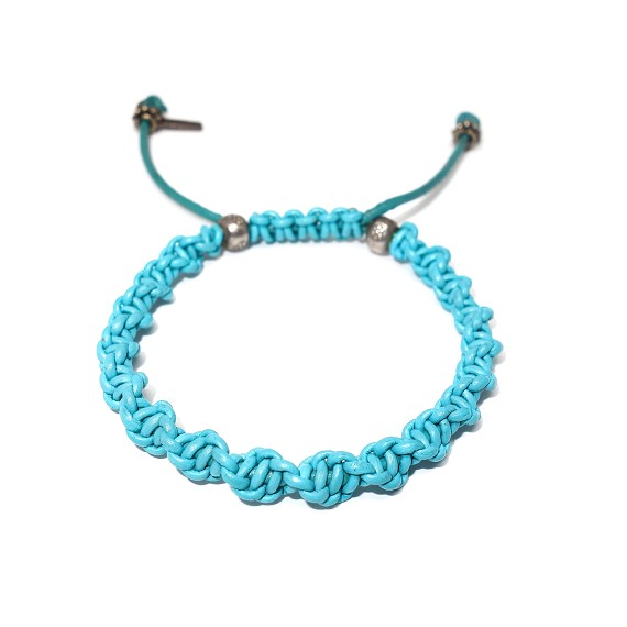 Sterling Silver & Turquoise Woven Leather Men's Bracelet