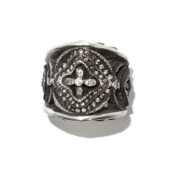 Sterling Silver & White Diamond Gothic Ring