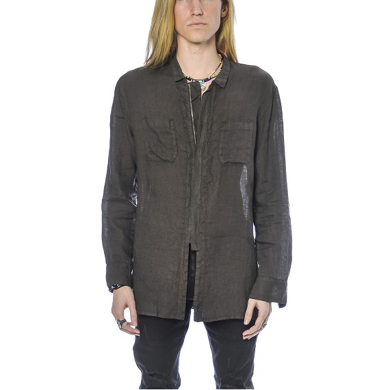 Syngman Cucala Linen Zip Up Shirt in Grey