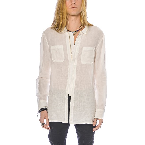 Syngman Cucala Linen Zip Up Shirt in White