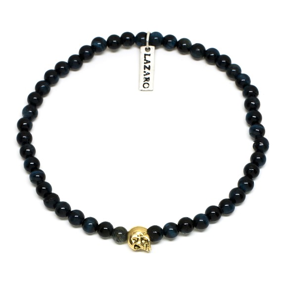 Tigers Eye & 18KT Gold Skull Beaded Bracelet