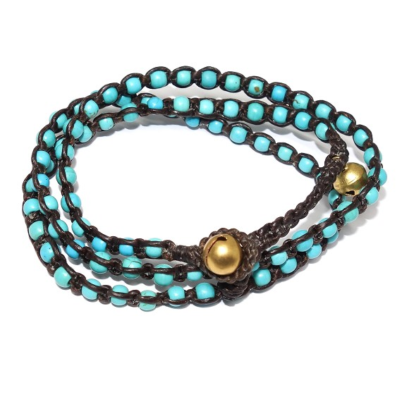 Turquoise & Brass on Hemp Necklace & Wrap Bracelet