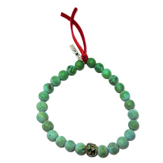Turquoise, Leather & Silver Beaded Bracelet