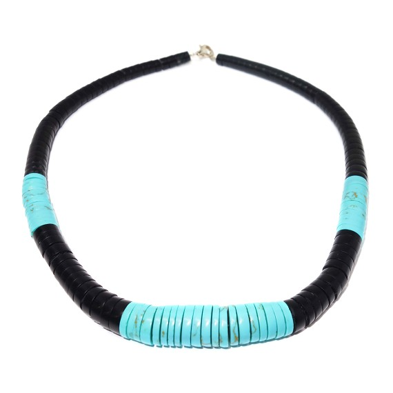 Turquoise & Silver Peacepipe Necklace