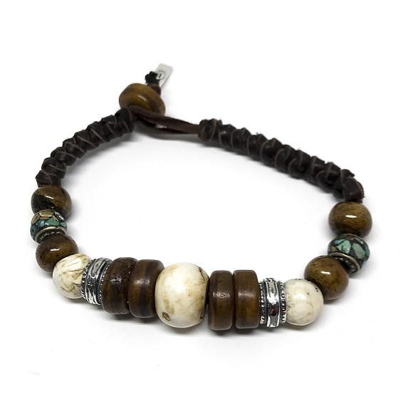 Turquoise, Silver & Wood Beaded Bracelet