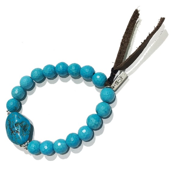 Turquoise Sterling Silver Men's Leather Bracelet