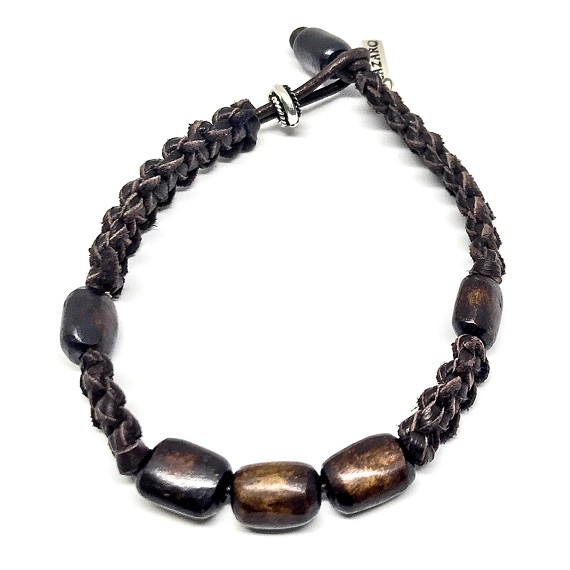Wood Beaded & Leather Bracelet