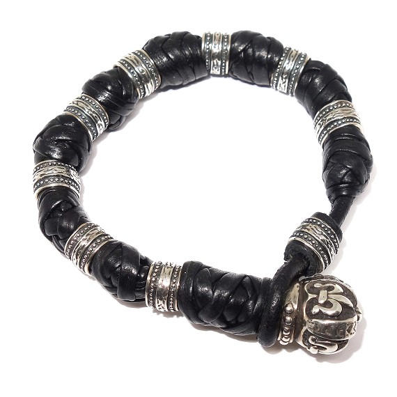 Woven Leather & Sterling Silver Crown Closure Bracelet