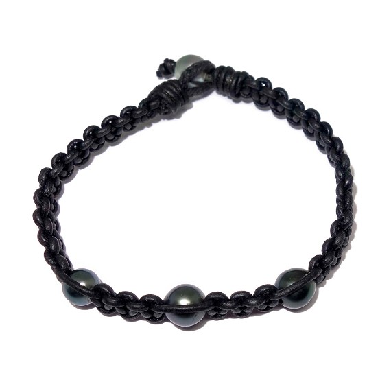 Woven Leather & Tahitian Pearl Bracelet