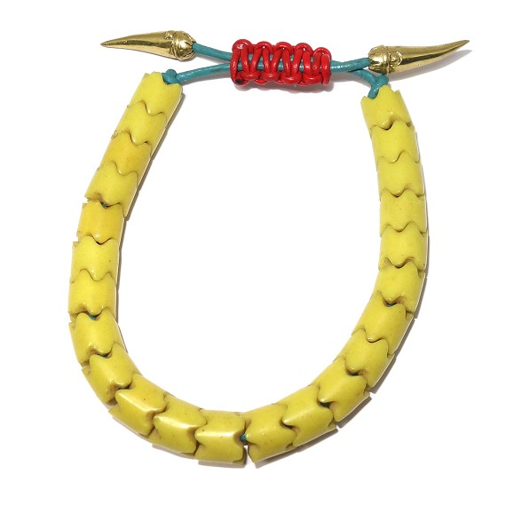 Yellow African Trade Beads on Leather Bracelet