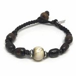 Leather, Silver & Wood Beaded Bracelet
