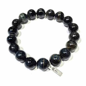 12mm Blue Green Tigers Eye Men's Bracelet