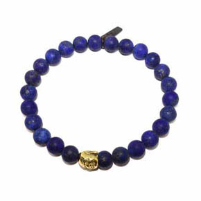 18KT Gold Buddha & Matte Lapis Beaded Men's Bracelet