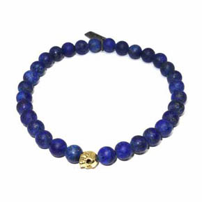 18KT Gold Skull & Matte Lapis Beaded Men's Bracelet