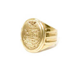 18k Gold Crest Signet Ring