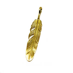 18kt Gold Feather Pendant