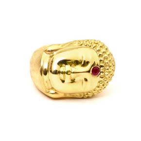 18kt Gold & Ruby Buddha Ring