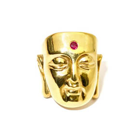 18kt Gold & Ruby Large Buddha Ring