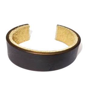 20mm Wide Brass and Suede Cuff