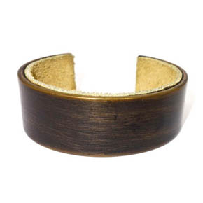 26mm Wide Brass and Suede Cuff
