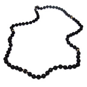 6mm Lava Bead & Sterling Silver Necklace