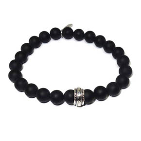 8mm Onyx & Sterling Silver Beaded Bracelet