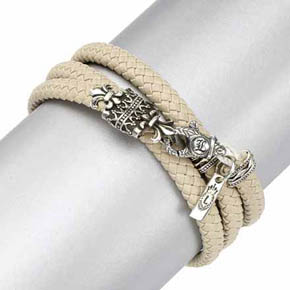Silver Fleur-De-Lis Ivory Leather Double Wrap Bracelet