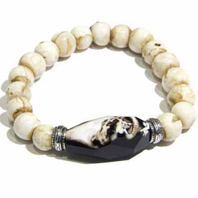 Conch Shell Bead & Large Faceted Agate Men's Bracelet