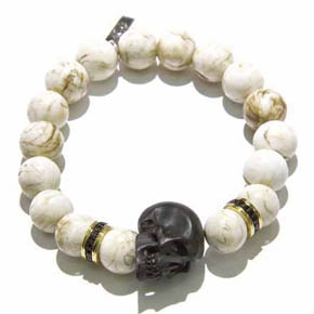 Black Sapphire, Conch Shell Bead & Jet Skull Men's Bracelet
