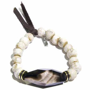 Conch Shell Bead & Black Diamond Large Faceted Agate Men's Bracelet