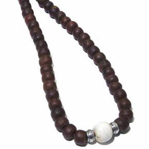 Silver, Conch shell & Tibetan Wood Bead Men's Necklace