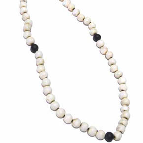 Black Onyx & Conch Shell Small Bead Men's Necklace