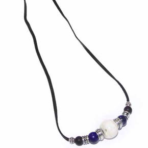 Lapis, Conch Shell, & Onyx on Leather Men's Necklace