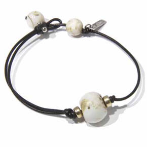 Gold & Conch Shell Bead Leather Men's Bracelet
