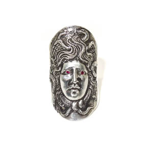 Sterling Silver & Ruby Medusa Ring