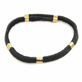 Adjustable 18kt Gold Leather Men's Bracelet