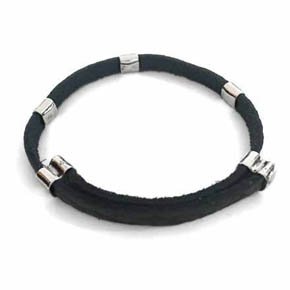 Adjustable Leather & Silver Men's Bracelet