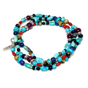 Turquoise, Coral, Tiger's Eye, Garnet Necklace & Wrap Bracelet