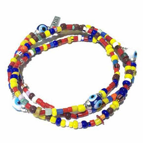 African Glass Evil Eye Men's Necklace & Wrap Bracelet