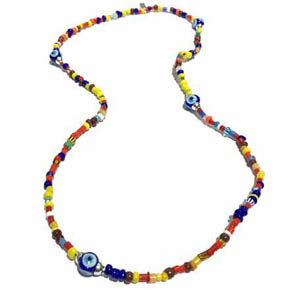 African Glass Trading Beads & Evil Eye Necklace or Wrap Bracelet