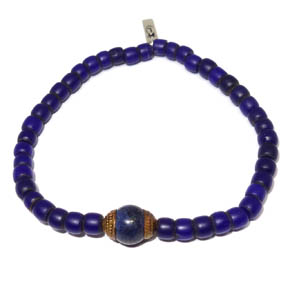 African Trade Beads, Brass & Lapis Bracelet