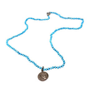 Alexander the Great Silver Coin on Hand Knotted Turquoise Necklace