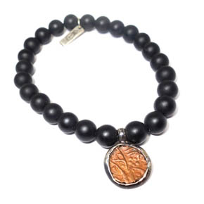 Ancient Coin & Onyx Beaded Bracelet
