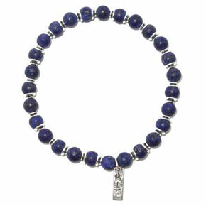 Beaded Matte Lapis & Silver Men's Bracelet
